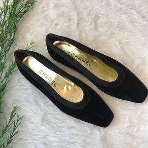 CHANEL Classic Black Velvet Slip On Flats Loafers